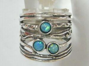 New SHABLOOL Ring Unique Blue Opal 925 Sterling Silver Women Jewelry