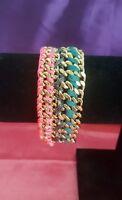 Victoria's Secret Limited Edition Angel PINK-TEAL Bracelet 10k Flash Gold $78