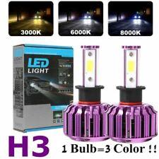Pair H3 LED Headlight Bulbs Fog Light 120W 8000LM 3000K 6000K 8000K 3Color Light