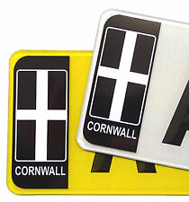 Pair Of CORNWALL Cornish Flag Number Plate Badge Vinyl Stickers decal For Car