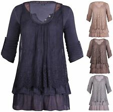 Womens 3/4 Turn Up Sleeve Ladies Lace Lined Crochet Made In Italy Long Dress Top