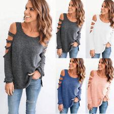 Damen Herbst Pullover Bluse T-Shirt Langarm Shirts Pulli Oberteil Blusen Hemd