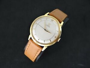 VINTAGE OMEGA HONEYCOMB DIAL 18K SOLID GOLD REF 2710 SC AUTOMATIC BUMPER CAL 354