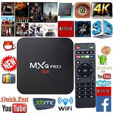 MXQ Pro 4K Ultra HD 3D 64Bit Wifi Android 7.1 Quad Core Smart TV Box+KODI 18 UK.