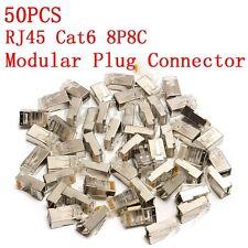 50PCS RJ45 Cat5E 8P8C Modular Plug Connector Cap Network Ethernet LAN Metal Head