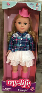 """My Life As Cowgirl Doll 18"""" Posable Blonde Hair, Pink Hat & Boots"""