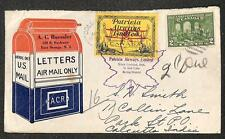 CANADA SCOTT #142 & CL43 STAMPS A.C. ROESSLER AIRMAIL COVER TO INDIA 1928