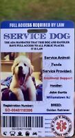 Service Dog Card ID Assistance Animal Badge ADA ESA with Barcode