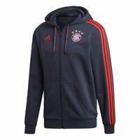 Adidas Fußball FC Bayern München Herren Kapuzenjacke FCB Full Zip Hoodie blau