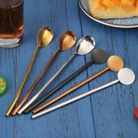 Creative Stainless Steel Coffee Bar Party Drinking Straw Spoon w/ Cleaning Brush