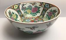 More details for stunning large chinese bowl hand painted with flowers and exotic birds