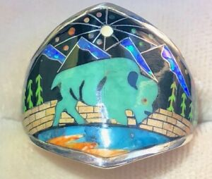Old Opal Turquoise Buffalo Sky Mountain Scape ring Pictorial Ring Men's 8.5 R