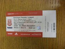14/09/2013 BIGLIETTO: Stoke City V MANCHESTER CITY BIGLIETTO [Rosso] (completo). grazie