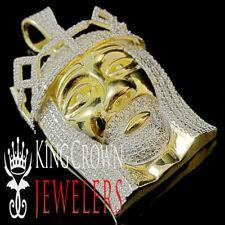 Plata de Ley 925 Hombres Auténtico Diamante Original Cara Jesus
