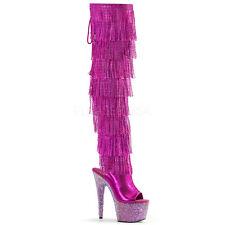 """7"""" Pink Silver Rhinestone Platform Thigh Hi Tassels Stripper Heels Dancer Boots"""