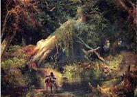Oil art Thomas Moran - Slave Hunt, Dismal Swamp, Virginia in forest landscape