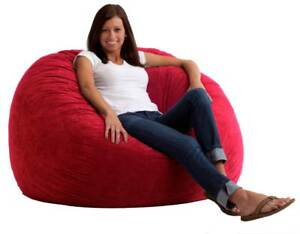 "Beautiful 1 PC 48""x48""x27"" Red Velvet Bean Bag Chair Without Beans at Best Price"