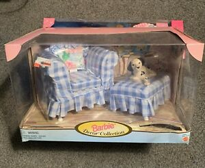Mattel Barbie 1998 Decor Collection Blue Check Chair, Ottoman and dog
