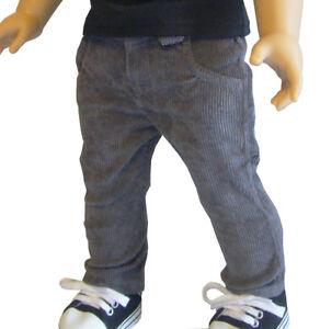 "For 18"" American Girl Doll Clothes  Dark Gray Cord Pants Boy Logan"