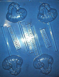 FOUR BABY IN A BUNDLE SHAPES CHOCOLATE MOULD OR CHOCOLATE LOLLIPOP MOULD