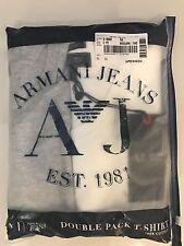 Armani Jeans 2 Pack para hombre blanco y gris con cuello en V T-shirts Tamaño Mediano £ 34.99