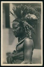 Zagourski Congo Bateke tribal chef Ethnic black Africa old c1930s photo postcard