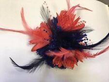 Bespoke Navy Blue and Coral Pink Fascinator on Headband Feathers Laces Beads