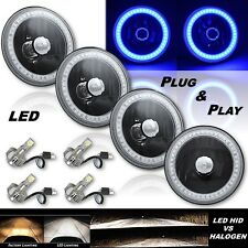 """5-3/4"""" Blue SMD LED Halo Angel Eye Black Headlight w/ 6k LED Light Bulb Set of 4"""