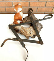 Primative Antique Old Iron Extendable Tongs Blacksmith Tool Coal Wood Fireplace