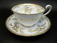 Royal Chelsea English Bone China Tea Cup Saucer Set 22 kt Gold Leaves