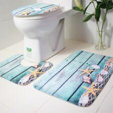 3PCS Starfish Ocean Non-Slip Bathroom Rug Lid Toilet Cover Absorbent Bath Mat