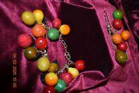Vintage Plastic Fruit Charm Bracelet w/Matching Earrings Florida Souvenir?