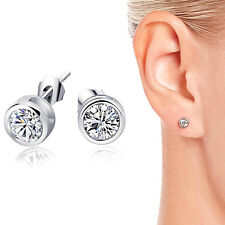 925 Sterling Silver Cubic Zirconia CZ Round 4mm Stud Earrings Unisex