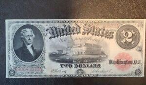 1917 $2 Large Size Legal Tender Note ELLIOT- BURKE Very Fine FR 58 RARE