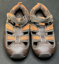 Toddler Boys Pediped Flex Closed Toe Dark Brown Orange Sandals Size US 7 EUR 23