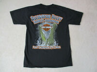 Harley Davidson Shirt Adult Small Black Green Alligator Fort Lauderdale Florida
