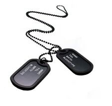 Double Black Name plate Military Army Style 2 Dog Tags Ball Chain Necklace UK