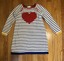 Hanna Andersson Red Heart Black White Striped Sweater Dress -120 US 6-7 Years
