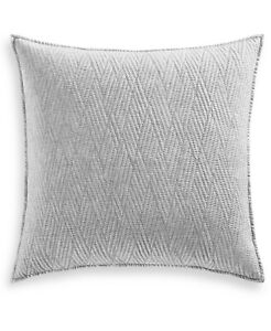 Hotel Collection Lateral Abstract Quilted 180 TC Cotton Pillow Sham  EURO  Gray