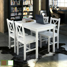 5Pcs Wooden Dining Table Set With 4 Chairs Kitchen Dining Room Furniture Us New