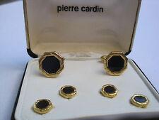 Pierre Cardin Cufflinks & Studs, Octagon Shape, Gold-Tone w/ Onyx Stones, NOS