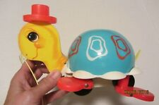VINTAGE FISHER PRICE TIP TOE TURTLE PULL TOY ANTIQUE 1962 EXCELLENT CONDITION