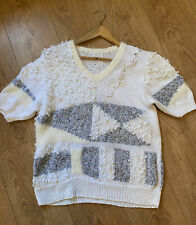 VINTAGE WOMENS KNITTED JUMPER SIZE 12 WHITE & SILVER SHORT SLEEVE TEXTURES (vj66