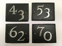 Black Rustic Welsh Slate House Number Plaques/ Signs Various Numbers Available