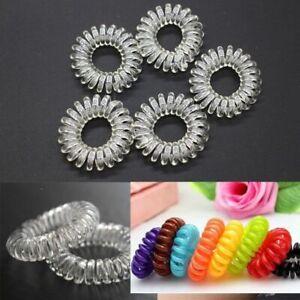 20 spiral plastic hair bands elastic bobbles bands