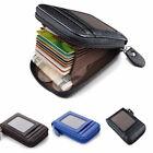 Men Wallet Credit Card Holder Genuine Leather RFID Blocking Zipper Pocket Thin