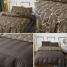 Dark Gold Leaves Duvet Cover with Pillowcase Quilt Cover Bedding Set All Sizes