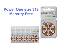 60 Power One Hearing Aid Batteries, size 312, Super Fresh Exp 2021 Mercury free