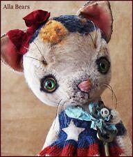 Alla Bears artist Old Anime Vtg Cat Teddy Bear art doll OOAK girl patriotic pet