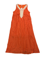 New $70 value! NY COLLECTION 2XP Orange Lined Gauze Sleeveless Empire Maxi Dress